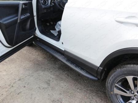 Toyota RAV4 2015 Пороги алюминиевые с пластиковой накладкой (карбон черные) 1720 мм
